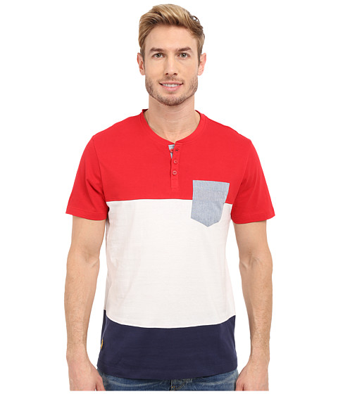Imbracaminte Barbati US Polo Assn Wide Stripe Pocket Henley T-Shirt Winning Red