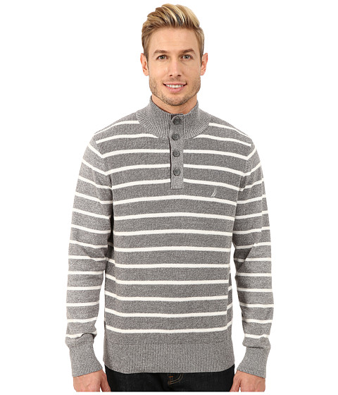 Imbracaminte Barbati Nautica 9 Gauge Shaker Knit Botton Mock Sweater Grey Heather