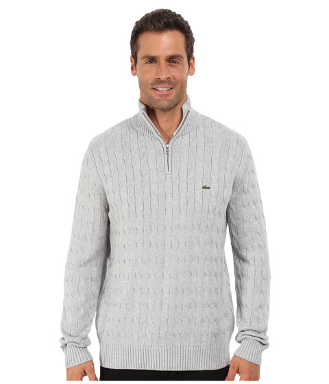 Imbracaminte Barbati Lacoste Cable 14 Zip Cotton Sweater Silver Grey Chine