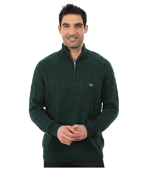 Imbracaminte Barbati Lacoste Cable 14 Zip Cotton Sweater Evergreen