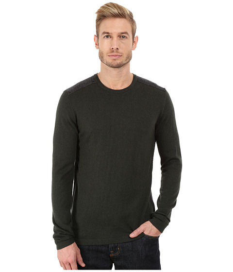 Imbracaminte Barbati John Varvatos Long Sleeve Crew Sweater with Tonal Rivet Patches Y1187R3B Dark Fatigue