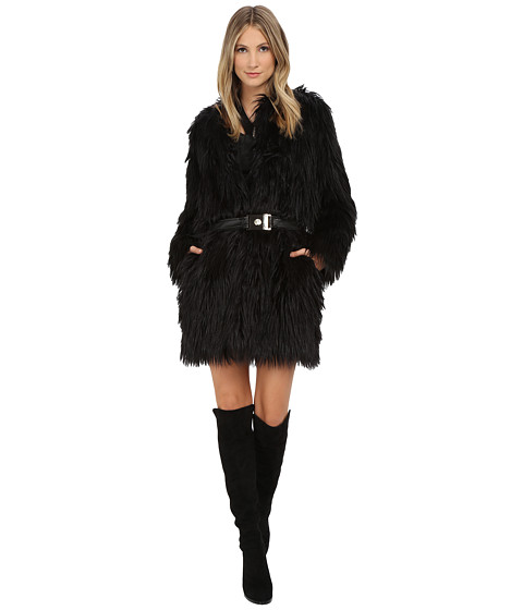 Imbracaminte Femei Versace Belted Faux Fur Long Sleeve Coat Nero