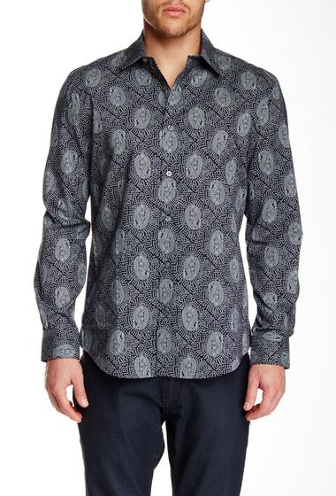Imbracaminte Barbati Perry Ellis Long Sleeve Geo Paisley Print Shirt DARK SAPPHIRE