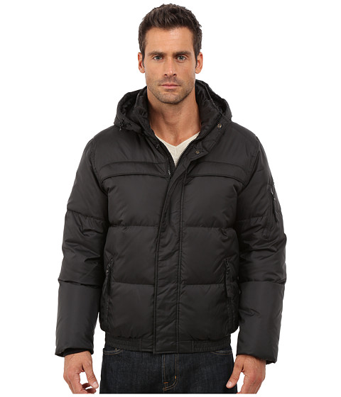 Imbracaminte Barbati Marc New York by Andrew Marc Artica Down Filled Bomber w Removable Hood Black