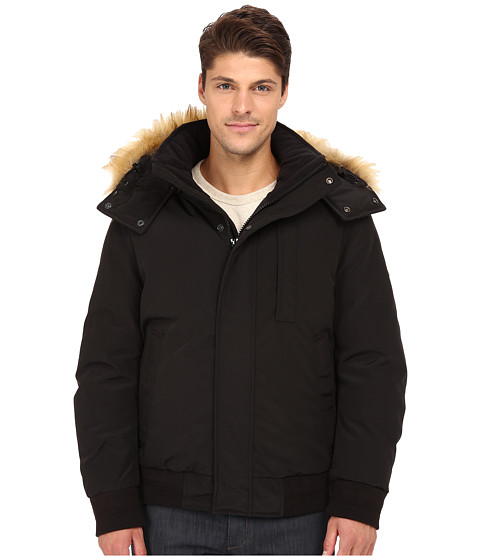 Imbracaminte Barbati Marc New York by Andrew Marc Bristol Down Filled Oxford Twill Bomber w Faux Fur Trimmed Removable Hood Black