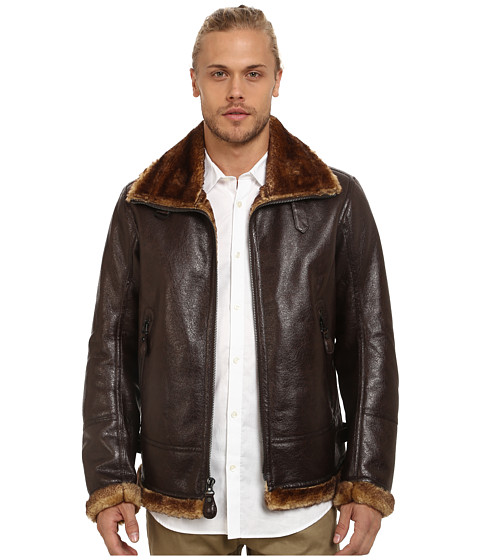 Imbracaminte Barbati Marc New York by Andrew Marc Pilot Faux Shearling Aviator Jacket Dark Brown