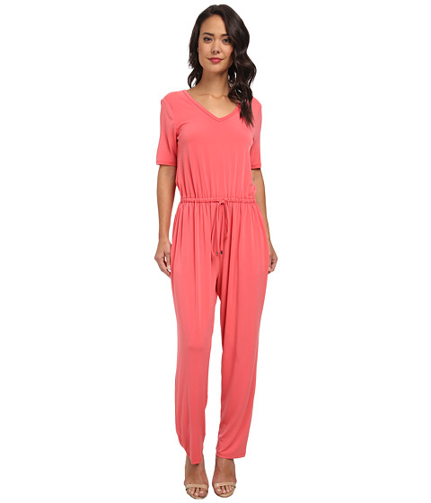 Imbracaminte Femei Marc New York by Andrew Marc SS V-Neck Blouson Peg Leg Jumpsuit MD4AM601 Coral