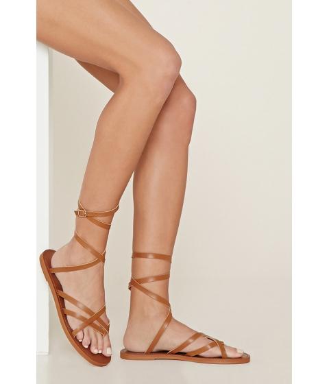 Incaltaminte Femei Forever21 Crisscross Faux Leather Sandals Tan