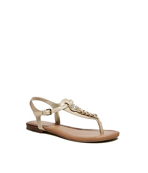 Incaltaminte Femei GUESS Sian T-Strap Sandals light natural leather