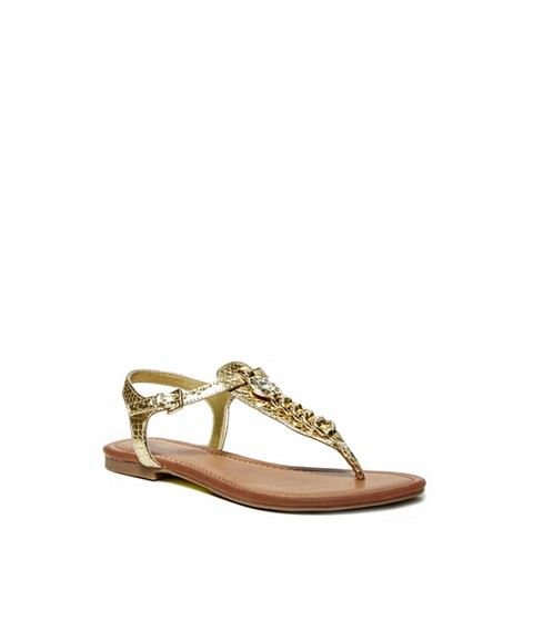 Incaltaminte Femei GUESS Sian T-Strap Sandals gold multi leather