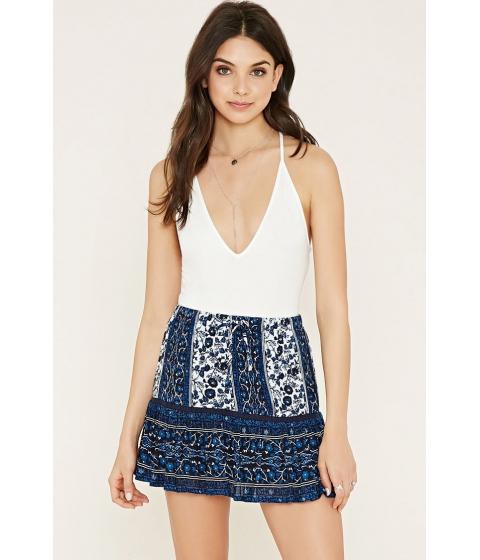 Imbracaminte Femei Forever21 Floral Crochet-Trim Skirt Bluecream
