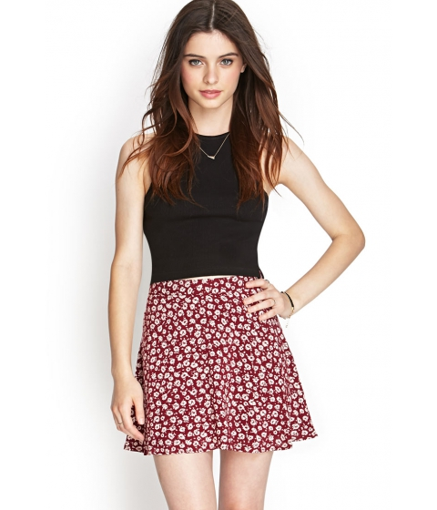 Imbracaminte Femei Forever21 Floral Print Skater Skirt Winelight pink