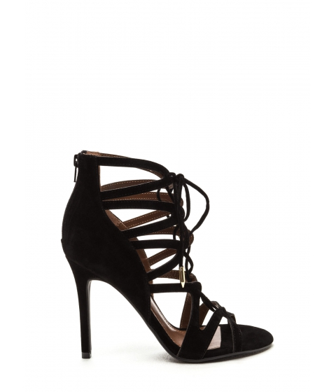 Incaltaminte Femei CheapChic Lace-up Luxe Faux Suede Heels Black