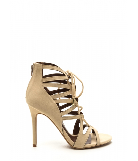 Incaltaminte Femei CheapChic Lace-up Luxe Faux Suede Heels Nude