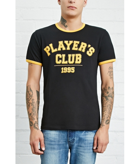 Imbracaminte Barbati Forever21 Players Club Graphic Ringer Tee Blackyellow