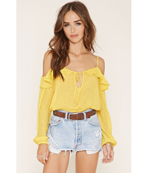 Imbracaminte Femei Forever21 Ruffled Open-Shoulder Crop Top Yellow