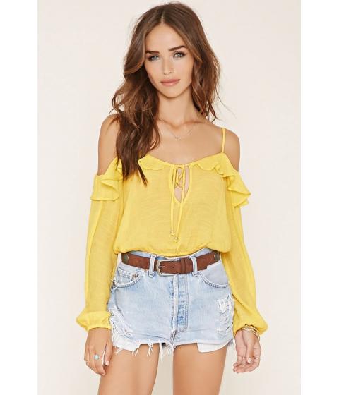 Imbracaminte Femei Forever21 Ruffled Open-Shoulder Crop Top Yellow