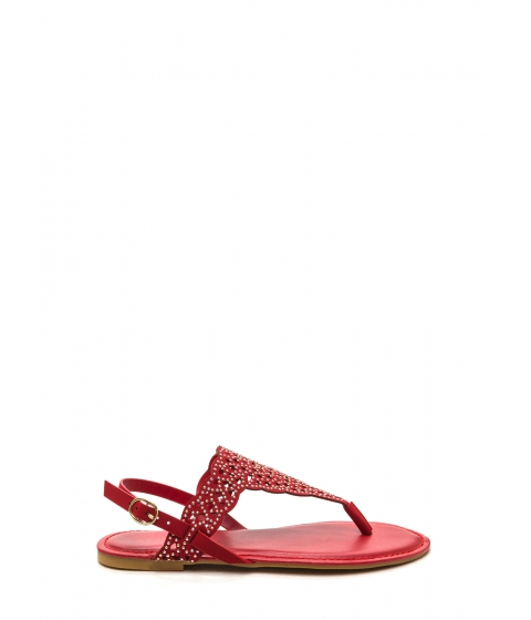 Incaltaminte Femei CheapChic Elegant Flair Faux Nubuck Sandals Red