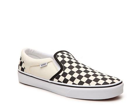 Incaltaminte Barbati Vans Asher Checkered Slip-On Sneaker - Mens BlackWhite