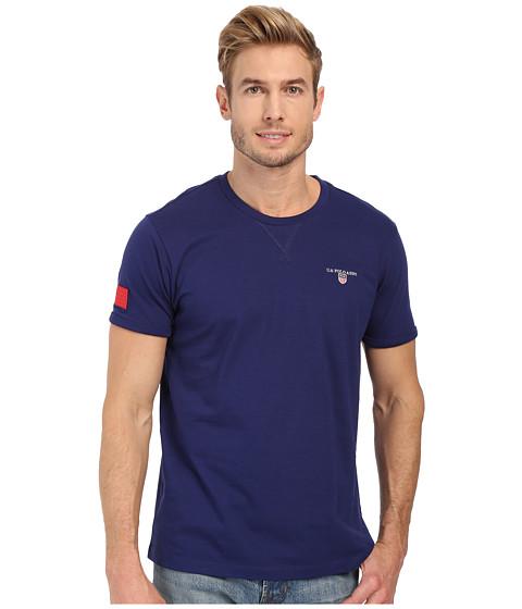 Imbracaminte Barbati US Polo Assn Solid V-Inset Crew Neck T-Shirt Marina Blue