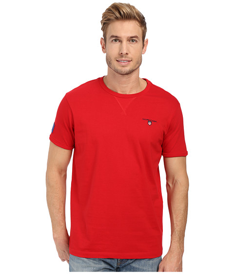 Imbracaminte Barbati US Polo Assn Solid V-Inset Crew Neck T-Shirt Winning Red