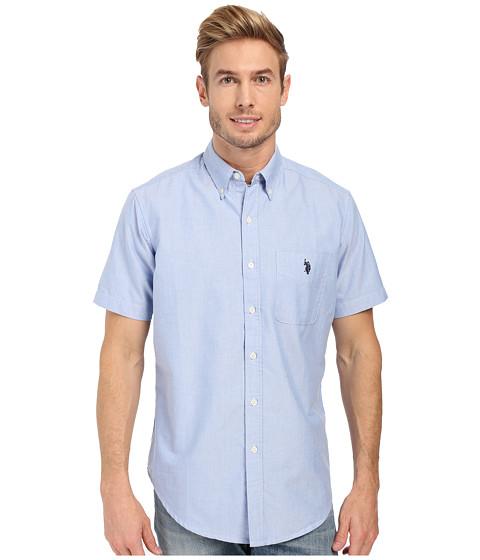 Imbracaminte Barbati US Polo Assn Short Sleeve Button Down Oxford Shirt Light Blue