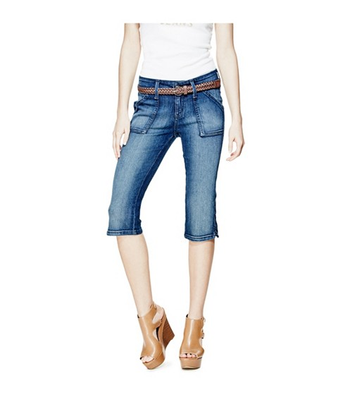 Imbracaminte Femei GUESS April Denim Capris dark wash