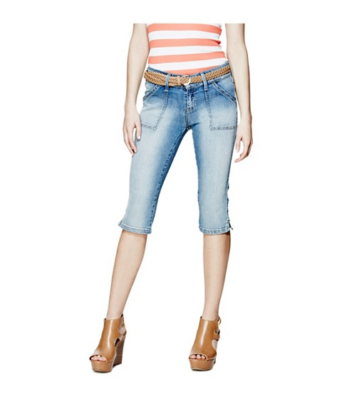 Imbracaminte Femei GUESS April Denim Capris light wash