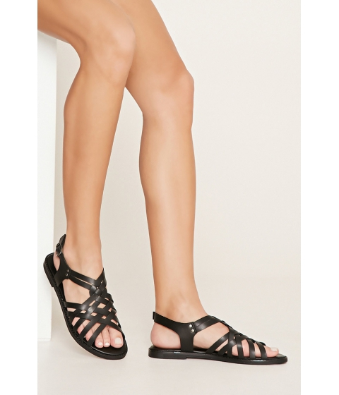 Incaltaminte Femei Forever21 Crisscross Faux Leather Sandals Black