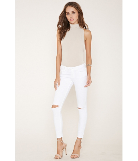 Imbracaminte Femei Forever21 Distressed Skinny Jeans White