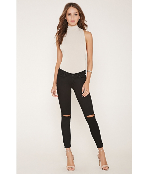 Imbracaminte Femei Forever21 Distressed Skinny Jeans Black