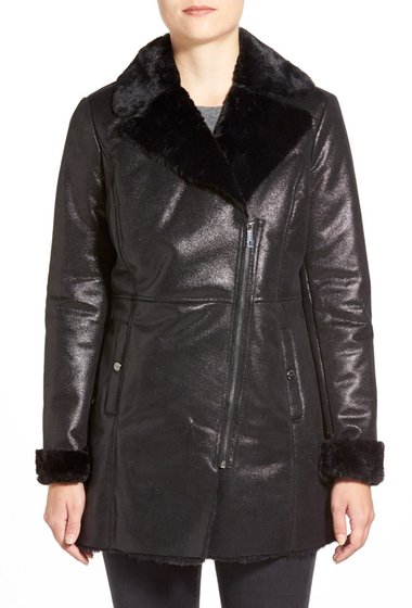 Imbracaminte Femei Kenneth Cole New York Asymmetrical Zip Faux Shearling Coat BLACK
