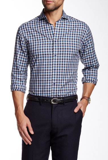 Imbracaminte Barbati Vince Camuto Spread Collar Long Sleeve Slim Fit Short Shirt Blue-Black White Gingham