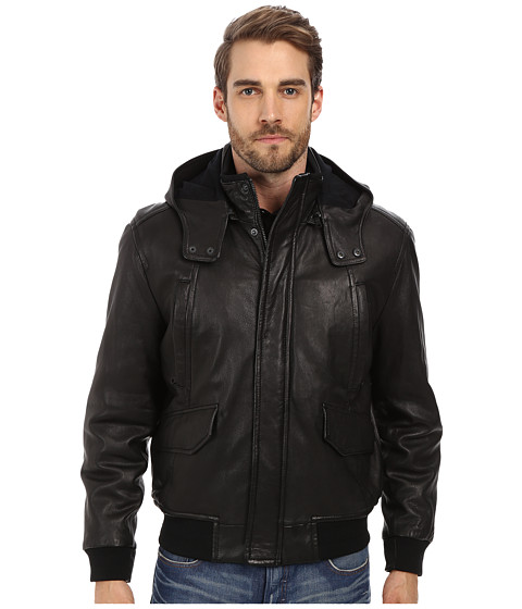 Imbracaminte Barbati Denim Leathers by Andrew Marc Jaiden Italian Double Washed Hooded Leather Jacket Black