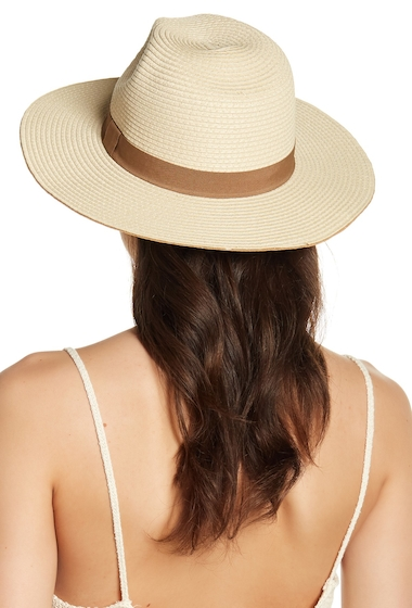 Accesorii Femei David Young Colored Brim Panama Straw Hat NATURAL
