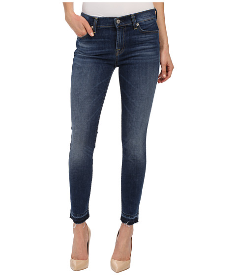 Imbracaminte Femei 7 For All Mankind The Skinny w Contrast Squiggle amp Released Hem in La Palma Blue La Palma Blue