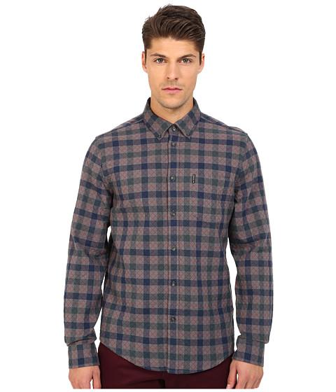 Imbracaminte Barbati Ben Sherman Long Sleeve Diamond Stitch House Check Woven Shirt MA11936A Smoked Pearl