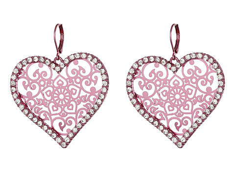 Bijuterii Femei Betsey Johnson Filligree Heart Earrings Pink