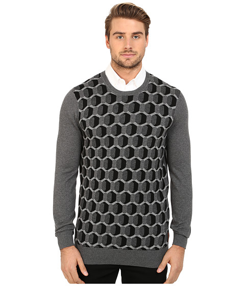 Imbracaminte Barbati Ben Sherman Long Sleeve Optical Geo Crew Neck Sweater ME11748 Dark Heritage Grey Marl