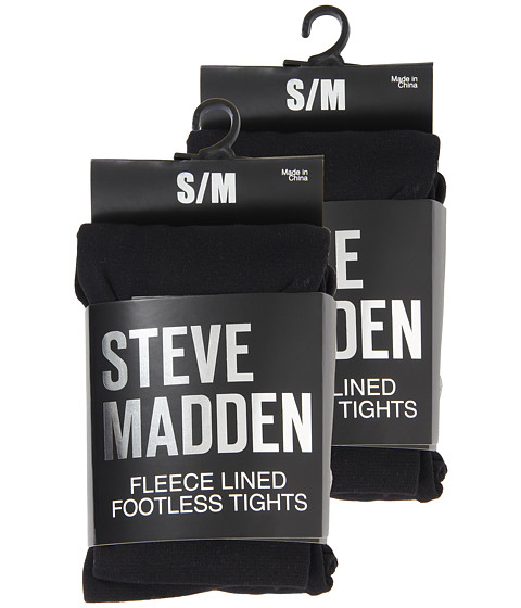 Imbracaminte Femei Steve Madden 2 Pack Fleece Solid and Rib Footless Tight Black