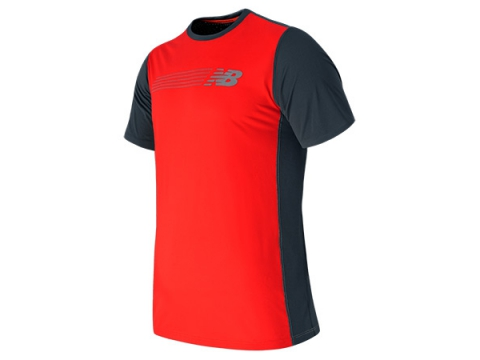 Imbracaminte Barbati New Balance Excel Race Day Short Sleeve Shirt Flame with Thunder