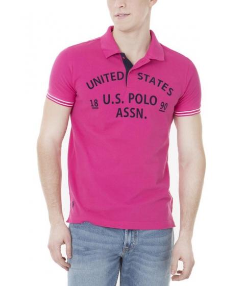 Imbracaminte Barbati US Polo Assn Slim Fit Textured Print US Polo Shirt CARIBBEAN PINK
