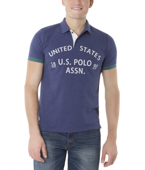 Imbracaminte Barbati US Polo Assn Slim Fit Textured Print US Polo Shirt DODGER BLUE HEATHER
