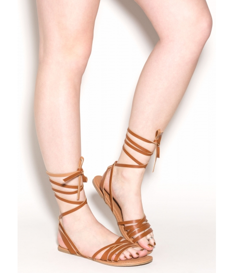 Incaltaminte Femei CheapChic Wrapped Up In Faux Leather Sandals Whisky