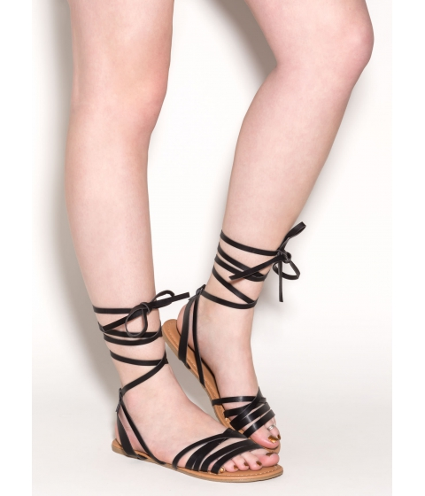 Incaltaminte Femei CheapChic Wrapped Up In Faux Leather Sandals Black