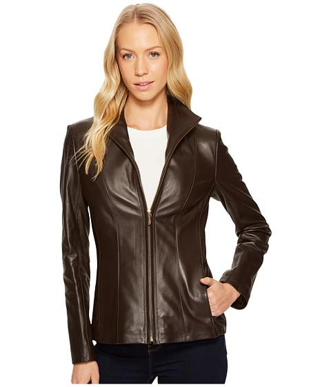 Imbracaminte Femei Cole Haan Wing Collar Leather Jacket Deep Espresso