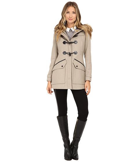 Imbracaminte Femei Marc New York by Andrew Marc Cara 30quot Pressed Wool Toggle w Faux Fur Hood Oatmeal
