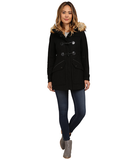 Imbracaminte Femei Marc New York by Andrew Marc Cara 30quot Pressed Wool Toggle w Faux Fur Hood Black