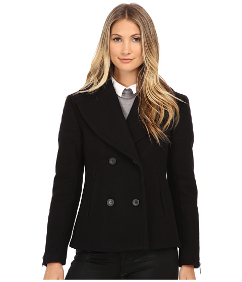Imbracaminte Femei Nicole Miller Double Breasted Peacoat with Shouler Detailing Black