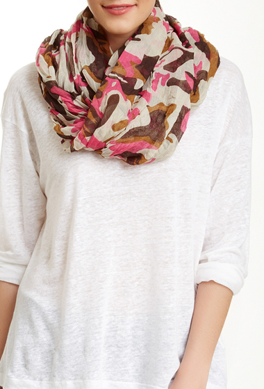 Accesorii Femei Blue Pacific Oversized Brushed Camo Scarf Fuchsia-Brown